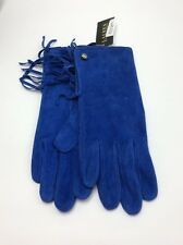 Lauren Ralph Lauren Blue Suede Leather Gloves W/fringe  Size M #519