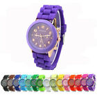 New Men Women Geneva Silicone Rubber Jelly Gel Quartz Analog Sports Wrist Watch