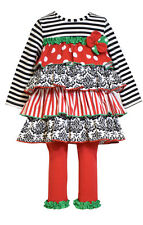 Bonnie Jean Girls Colorful Christmas Holiday Tiered Tunic Leggings Outfit 2T New
