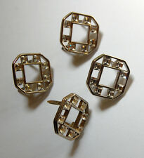 VINTAGE LOT MONET RHINESTONE SILVER OCTAGON CLIPS STUDS EMBELLISHMENTS B