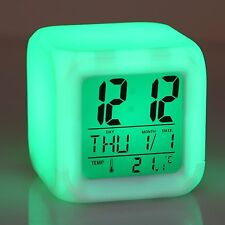 7 LED Change Colors Digital Clock Date Thermometer Time Glowing Desk LCD Light