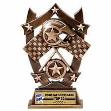 THREE DIMENSIONAL CROSS FLAGS RACING TROPHY CAR SHOW TROPHY RESIN AWARD