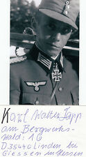 Knights Cross Karl Lapp Commander of Ski-Bataillon 82 WWII SIGNED CARD AUTOGRAPH