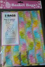 "NIP TWO Gift Wrap Easter Bunny Pastel cellophane bag wrapping baskets 22"" x 30"""