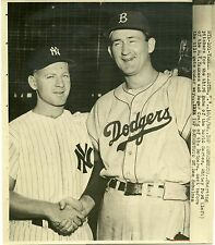 Whitey Ford Yankee Roger Craig Dodgers 3rd game of world series 1956 press photo
