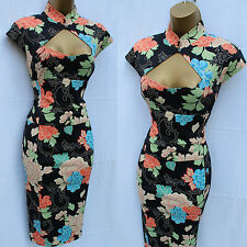 Rare KAREN MILLEN Black Satin Chinese Oriental Floral Cocktail Wiggle Dress 10UK