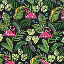 Michael Miller FLAMINGOS IN PARADISE Tropical Hawaiian Fabric - Black