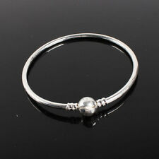 Silver Round Clasp Bangle Bracelet for Charms Beads AU Fashion