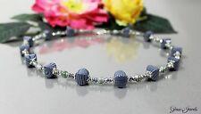 Glass Jewels Silber Kette Collier Perlen Vintage Würfel Grau Schwarz #M028