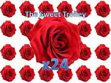 Red Roses x 24 Printed Edible Rice Wafer Paper Birthday Cupcake Cake Toppers