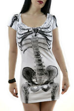 Kreepsville 666 White dress with black skeleton gothic punk grunge Halloween