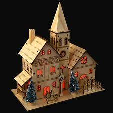 5 WARM WHITE LED FAIRY LIGHTS WOODEN CHURCH CHRISTMAS DECORATION VILLAGE SCENE
