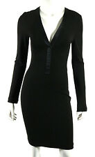 GUCCI Black Jersey Satin Trim V-Neck Long Sleeve Sheath Dress 40