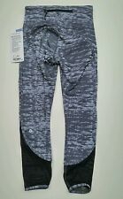 NWT Lululemon Beat The Heat Tight SZ 4 SJBW Black Gray Mesh Rare color!!