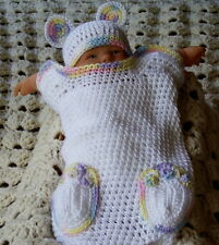 0-3 Months White Crocheted Baby Bear Cocoon Papoose With Matching Hat Photo Prop