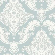 Damask Wallpaper Vinyl Glitter Effect Duck Egg White Modern Floral Rasch