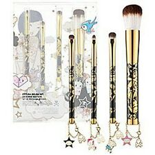 New TOKIDOKI 24 Karat 24K 4 piece Makeup Brush Set COLLECTOR'S ITEM Very Rare