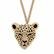 PalmBeach Jewelry Onyx and Crystal Yellow Gold Tone Leopard Necklace 30""