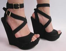"New Look Black Size 6 Wedge Sandals Shoes Cross Ankle Strap 6"" High Heel #41A37"