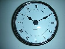 "3-1/8"" (80MM) QUARTZ CLOCK FIT-UP/Insert, Silver Trim, Roman Numeral, White Face"