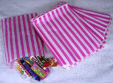 50 Pink & White Stripe Paper Sweet Bags Any Occasion Pick 'n' Mix Bags