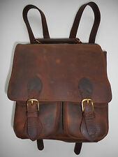 GABAHN OILED BROWN LEATHER BACKPACK BRASS HARDWARE VINTAGE MADE IN USA