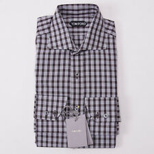 NWT $635 TOM FORD Brown-Sky Blue Check Cotton Dress Shirt 16.5 Classic-Fit
