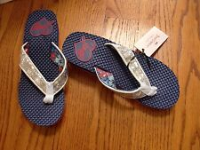 """NWOB""""JUICY COUTURE""""Gold Metallic Sequence Slides T-Strap Sandals M(7-8) CUTE"""