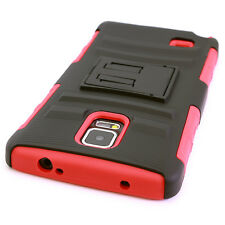 For Samsung Galaxy Note 4 Red/Black Hard Soft Case + Belt Clip Holster Cove