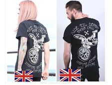 Mens/Womens Skull With Rock Punk Motor Biker Print Cotton T Shirt M TS002-06