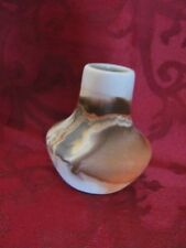"Nemadji Pottery vase USA beige, orange, black, 3.5"" tall"