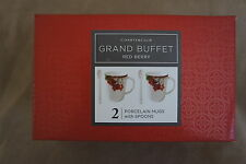 Charter Club Grand Buffet Red Berry Set of 2 Porcelain Mugs with 2 Spoons