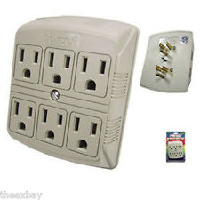 6 Outlet Electrical Power Grounded Wall Socket AC Tap Adapter Six