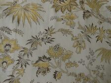 Vintage French Suzanne Fontan Paris Indienne Floral Cotton Fabric ~Yellow Brown