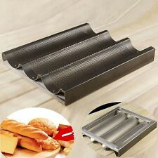 Nonstick 3 Mold Baguette French Bread Pan Aluminum Alloy Bake Tray Mould 9.6x11""