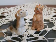 TWO SWEET VINTAGE RESIN MINIATURE DOG FIGURINES COLLECTIBLE
