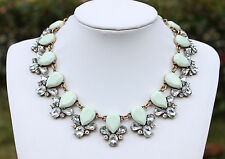 J Crew Inspired Chunky Statement Bib Choker Mint Rhinestone Collar Necklace