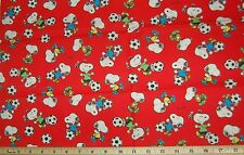 FQ OOP Peanuts Snoopy Soccer Balls on Red Cotton Fabric FQ - FREE SHIP