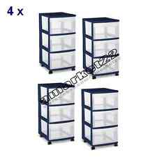 Storage 3-Drawer Cart Set of 4 Sterilite Boxes Drawers Box Home Blue NEW