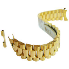 20mm Hadley-Roma MB4225 Mens President Gold Steel Solid Link Watch Band Bracelet