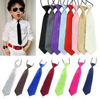 Boy Kids Children Baby Solid Colour Elastic Tie Necktie School Wedding Arrow Hot