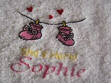 """""""PERSONALIZED EMBROIDERED BABY HOODED BATH TOWEL"""" SHES HERE 100% COTTON"""