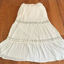 IVORY BROOMSTICK BOHO PEASANT HIPPIE FESTIVAL GYPSY MAXI SKIRT LACE CROCHET M
