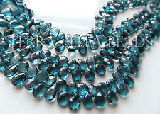10 pc London blue TOPAZ faceted gem stone pear briolette beads 7mm - 8.5mm