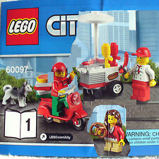 Lego Hot Dog Stand & Pizza Delivery  (City Square Train 60097 B1) New FreeShip