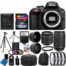 Nikon D3400 Digital SLR Camera Kit: 18-55mm VR + 70-300mm Lens + 32GB Best Value