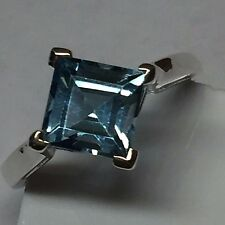 Natural Princess Cut 2ct Swiss Blue Topaz 925 Solid Sterling Silver Ring sz 7