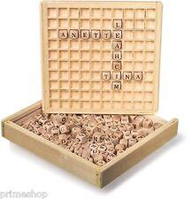 Dadi con iniziali Parole posto Alfabeto Imparare in scatola di legno Nuovo
