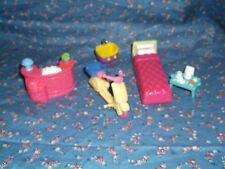 Lot of Six Dollhouse Pieces I believe Sweet Streets Bed Scooter Counter Sink Bed