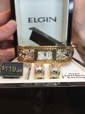 Elgin Ladies Greek Key Filigree TwoTone Hinged Bangle Bracelet Watch ELB245ST-HQ